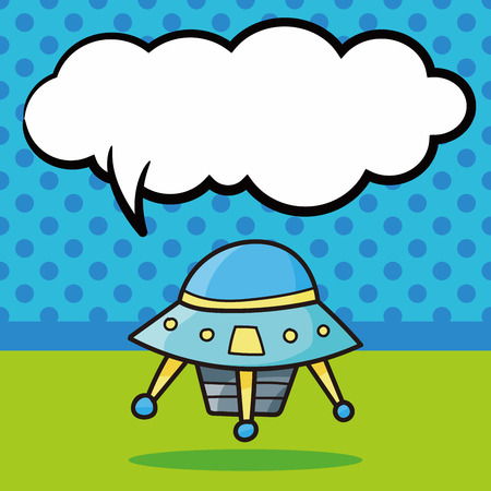 talking robot: space machine doodle, speech bubble