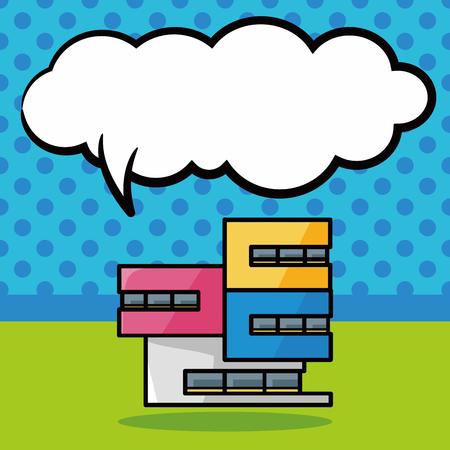 cartoon school: building doodle, speech bubble Illustration