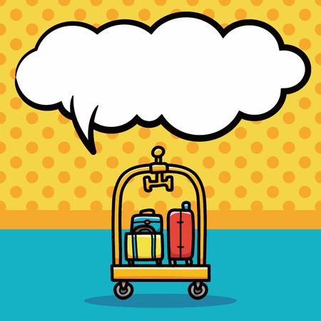packing suitcase: suitcase doodle, speech bubble Illustration