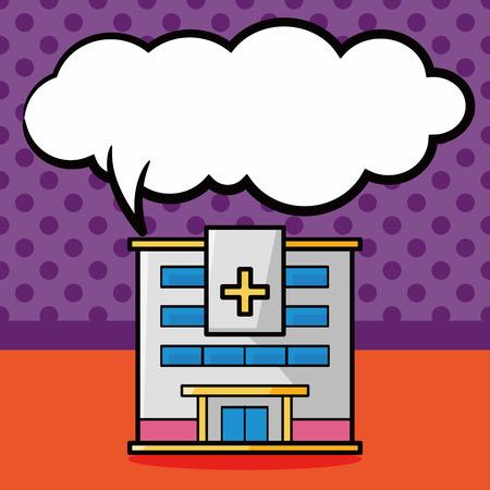 speech bubble hospital: hospital building doodle, speech bubble