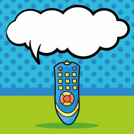 tv controle doodle, speech bubble