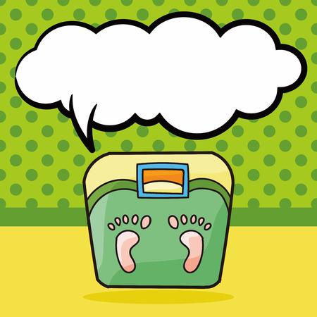 weighing: Weighing machine doodle, speech bubble