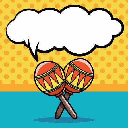 maracas: musical instrument Maracas doodle, speech bubble