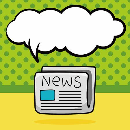 newsprint: newspaper doodle, speech bubble Illustration