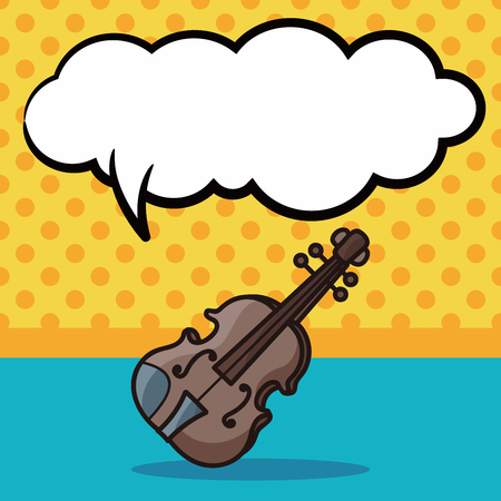 the instrument: musical instrument violin doodle, speech bubble Illustration
