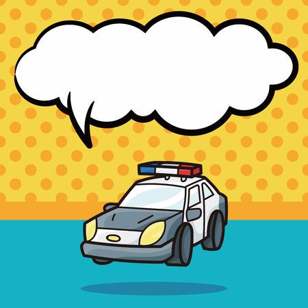 politiewagen doodle, tekstballon
