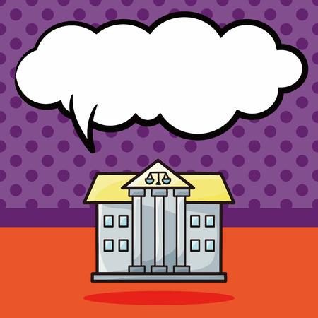 courthouse: court doodle, speech bubble
