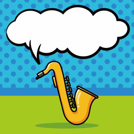 instrument: musical instrument Saxophone doodle, speech bubble
