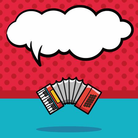 instruments de musique: instrument de musique d'accordéon griffonnage, bulle de la parole