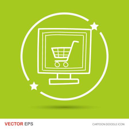 e commerce icon: online shopping doodle