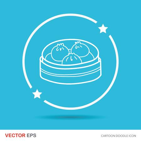 buns: Steamed buns doodle Illustration