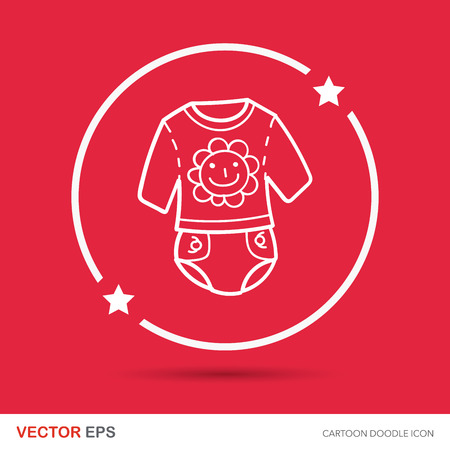 cute baby girls: baby clothes doodle Illustration