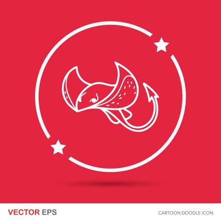 stingray: sea animal Stingray doodle Illustration