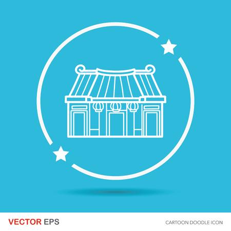 Año Nuevo Chino tradicional templo del doodle