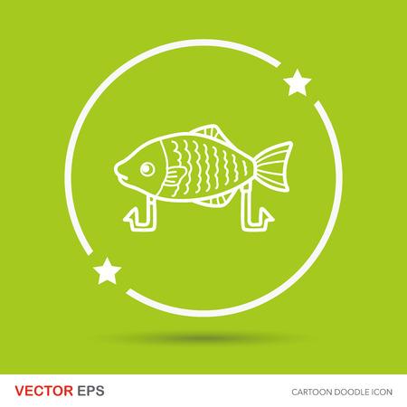 bait: Fishing bait doodle Illustration