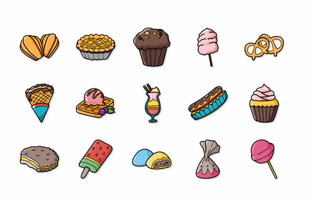 confectioner: Dessert and sweets icons set