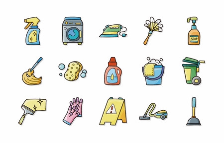 dry cleaned: Cleaning and sewing icons set