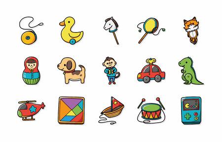 Children toys icons set  イラスト・ベクター素材