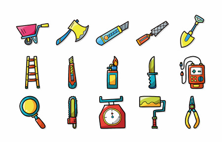 putty knives: Worker tools icons set,eps10