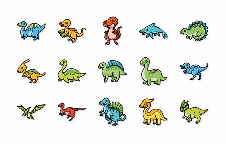 dinosaurus: Dinosaurs icons set Illustration