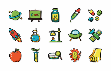 bunsen burner: Chemistry and science icons set