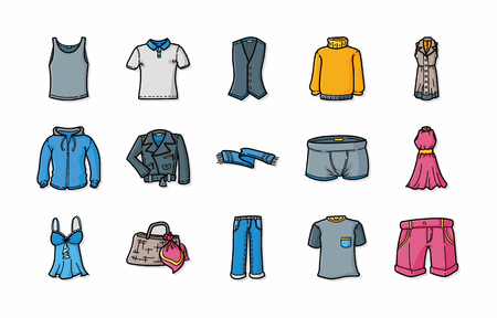 wearing: Wearing and clothes icons set Illustration