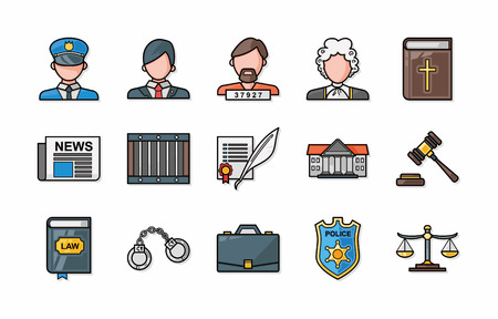inheritance: Law and justice icons set