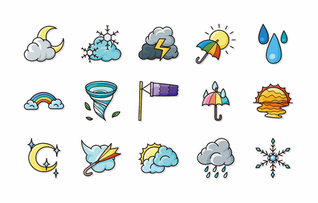 meteorologist: Weather icons set Illustration