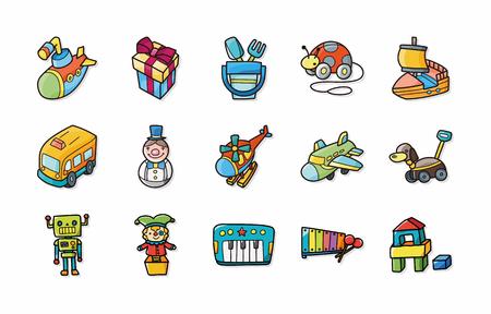 play yoyo: Children toys icons set Illustration