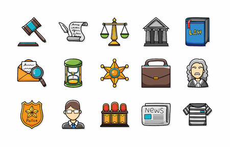 environmental suit: Law and justice icons set