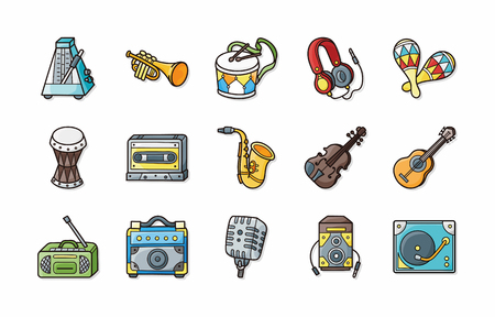 indie: Music icons set