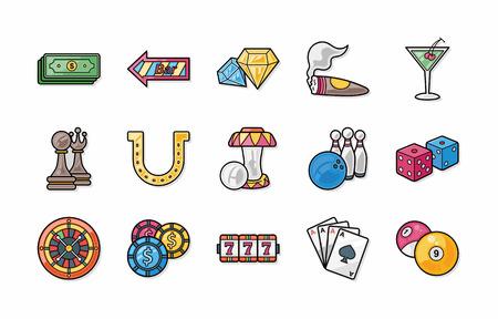 gambling counter: Casino and gambling icons set