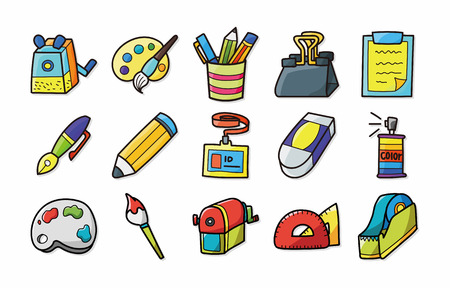tape marker: Stationery and drawing icons set