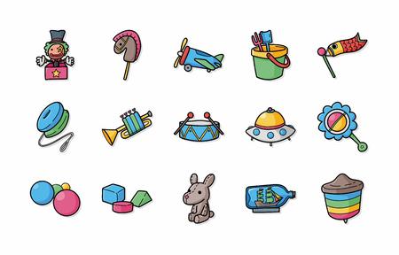 yoyo: Children toys icons set Illustration