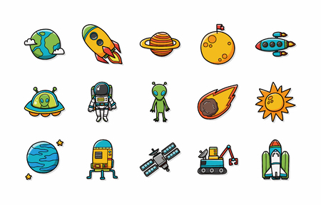 astronomer: Space and astrology icons set