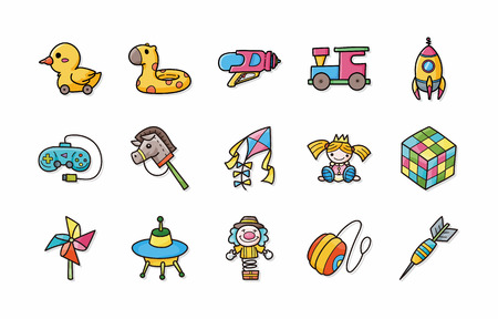 Children toys icons set Stock Illustratie