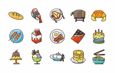 fresh food fish cake: Food and drinks icons set Illustration