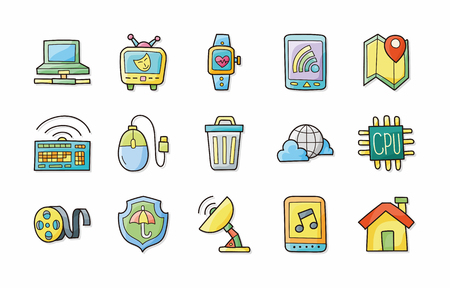 gps device: Internet and media icons set