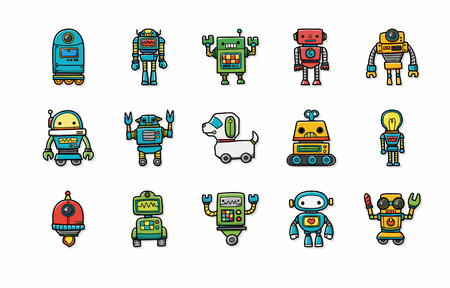 machine operator: Manufacture robot icons set Illustration