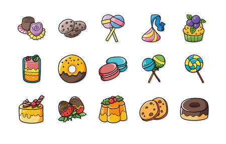 flan: Dessert and sweets icons set