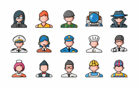 People occupations icons set