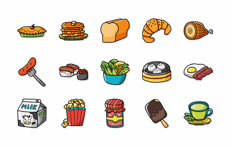 Food and drinks icons set Stock Illustratie