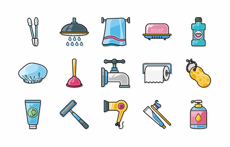 washstand: Sanitary and bathroom icons set
