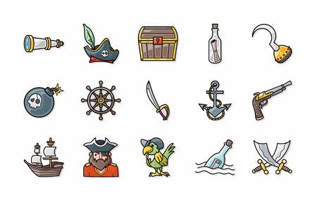 ahoy: Pirate icons set