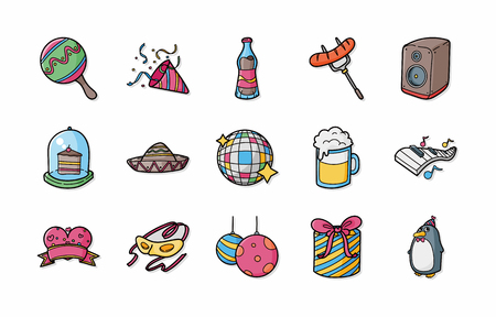 celebration party: Party and Celebration icons set Illustration