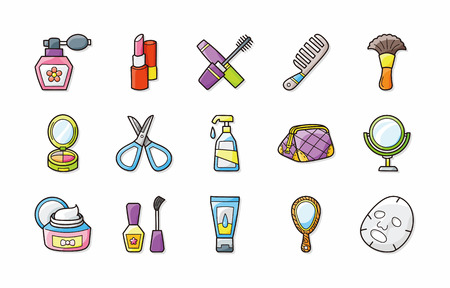 preening: Beauty and make up icons set