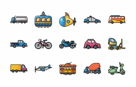 monorail: Transportation icons set