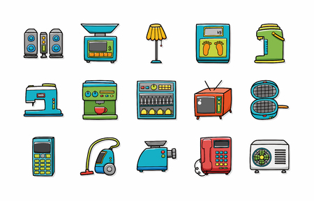 iron fan: Home appliances icons set