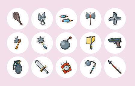 Weapons icons set