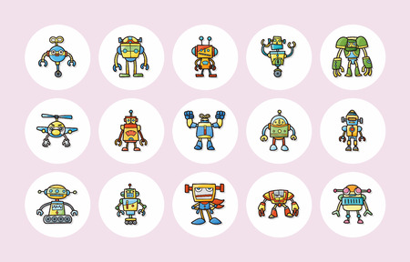 to manufacture: Manufacture robot icons set Illustration